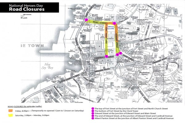 Road Closures for National Heroes Day Celebrations, 25-28 January