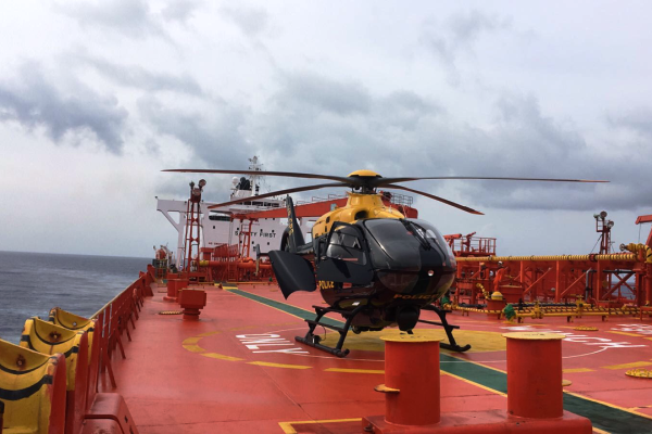Police Helicopter Executes Medevac from Supertanker, 11 June
