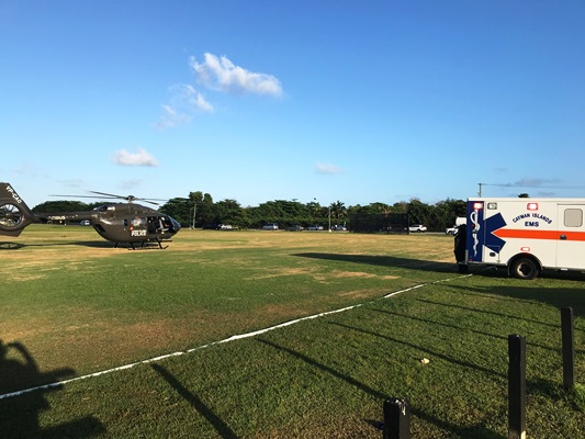 First Medevac from Cayman Brac Executed by New Police Helicopter, 6 April
