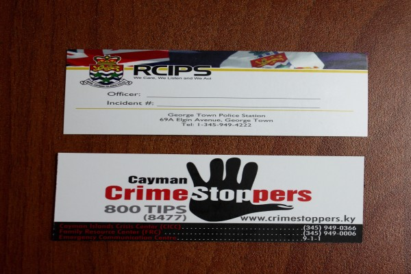 RCIPS Officers Using New Contact Cards When Responding to Calls for Service