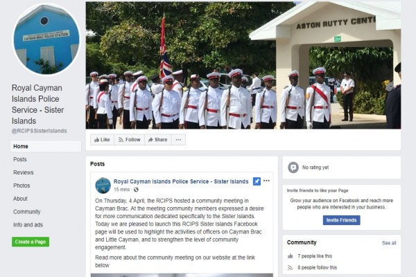 RCIPS Launches Sister Islands Facebook Page, 12 April