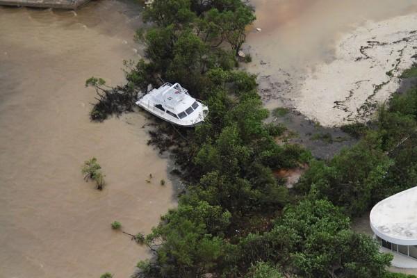 Police aerial assessment shows extent of Tropical Storm Grace destruction, 20 August