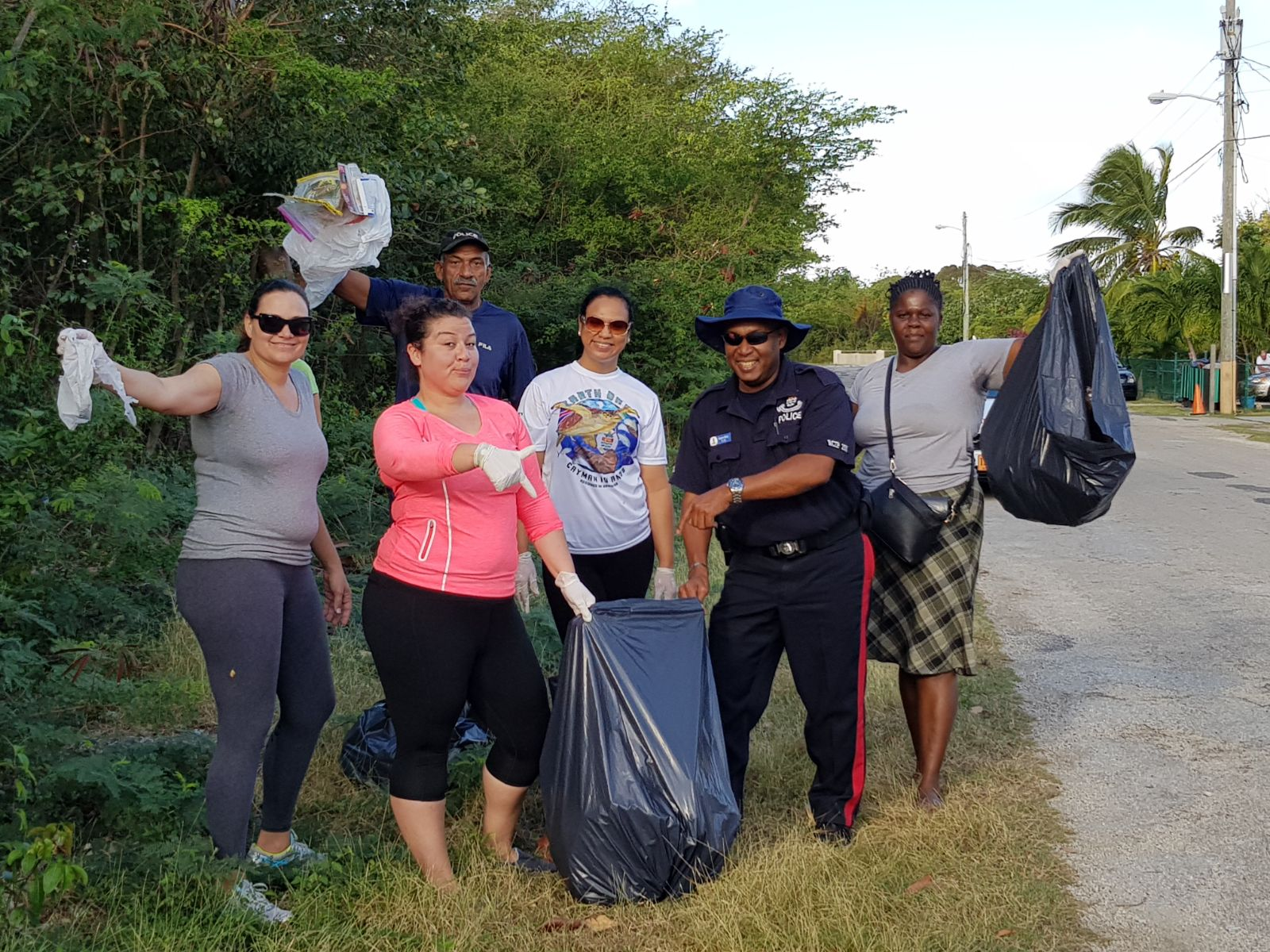 West Bay Community Officers and community members after Saturday's cleanup