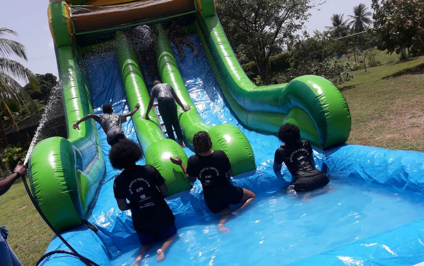 A waterslide was part of the day's activities.