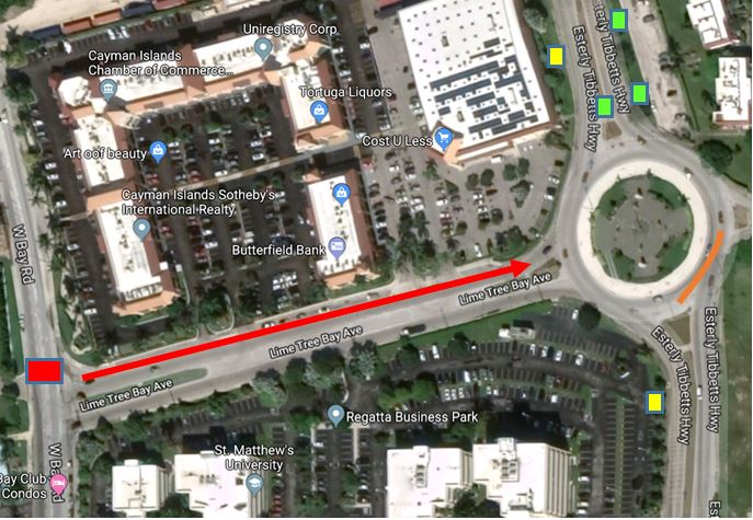 Diversion at West Bay Road and Lime Tree Bay Avenue.
