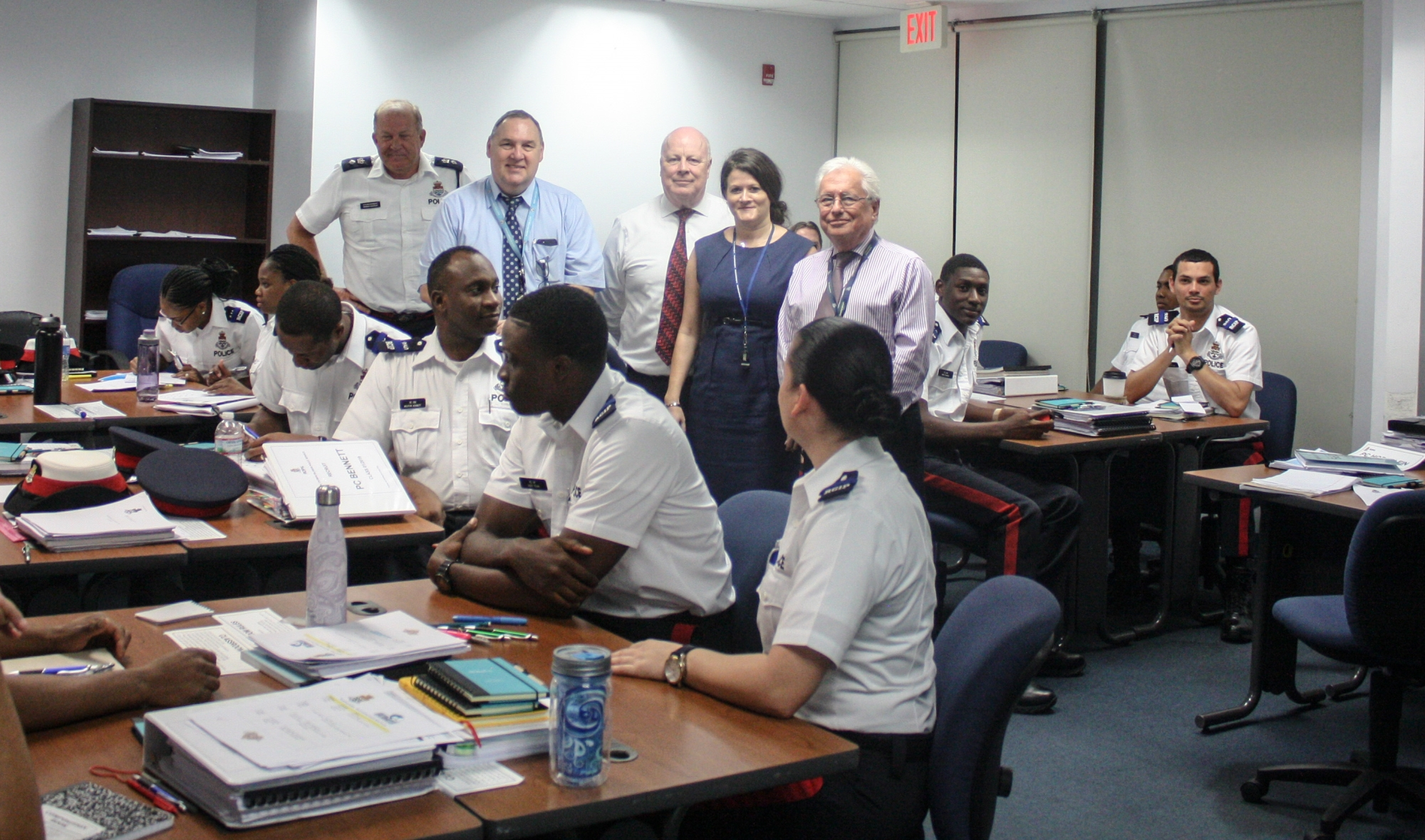 The recruit class along with presenters from PoCS, the ODPP, Office of the Ombudsman, and Supt. Robert Graham