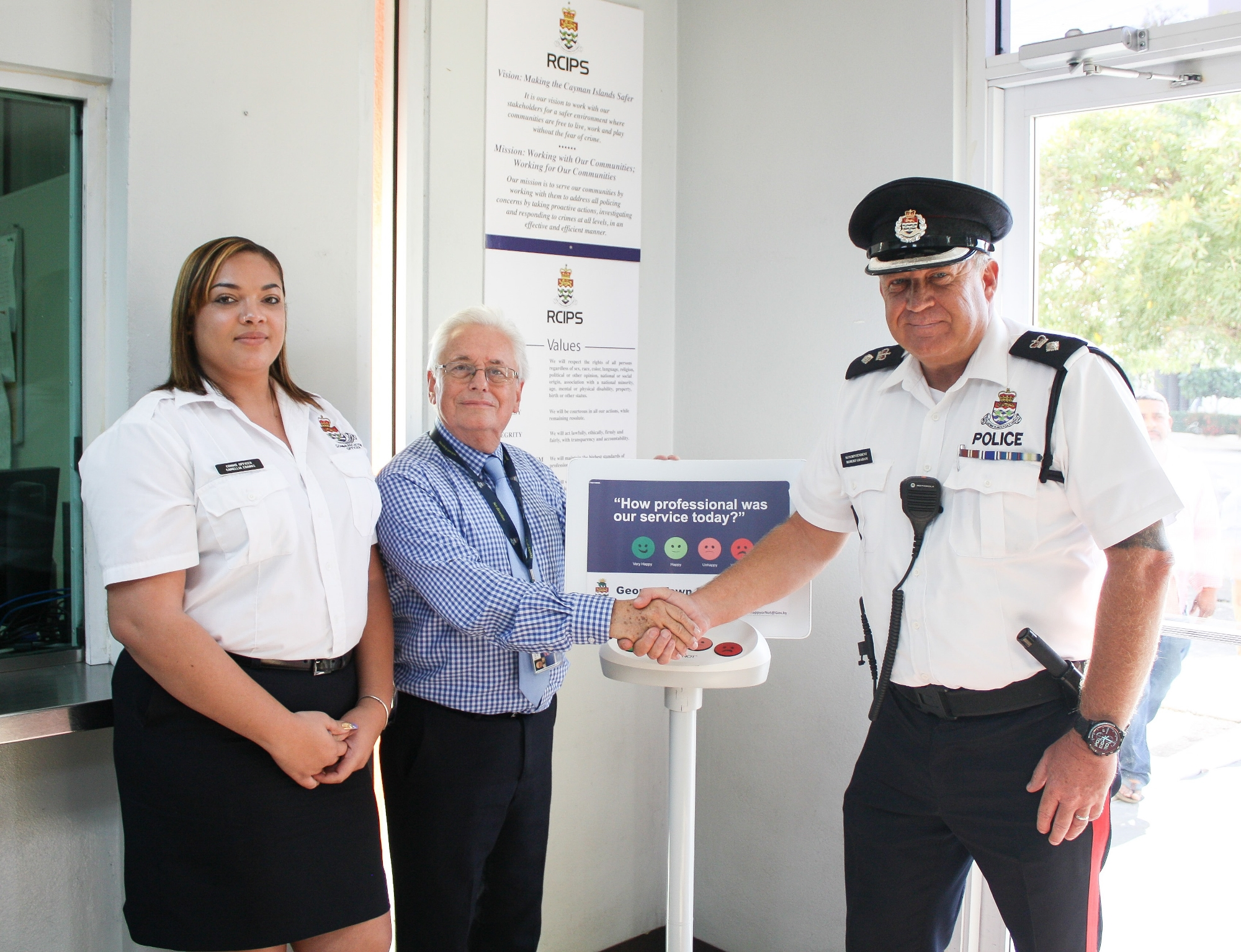 """""""Happy or Not"""" kiosks have been installed in the George Town Police Station, along with the Bodden Town Police Station."""