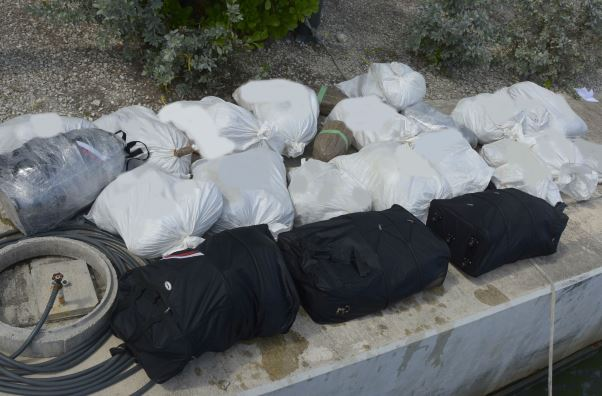 Altogether approximately 900lbs. of ganja was seized.