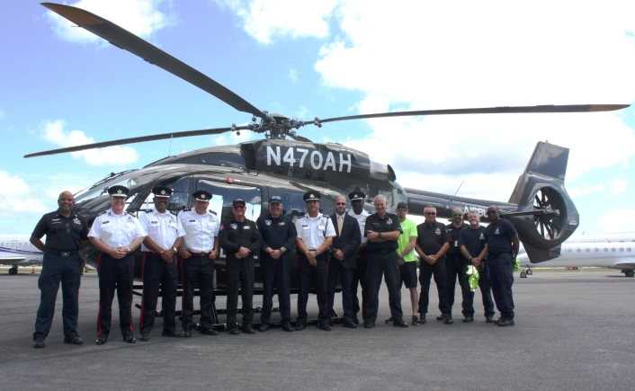 The RCIPS Senior Command Team, the AOU and the CICG Commander greeted the helicopter crew.