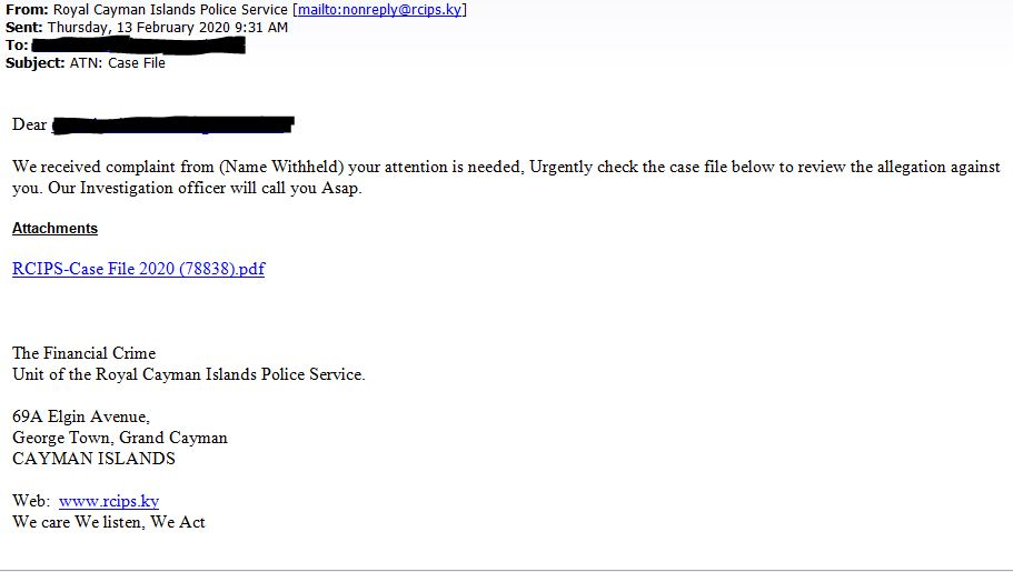 An example of the fraudulent email.